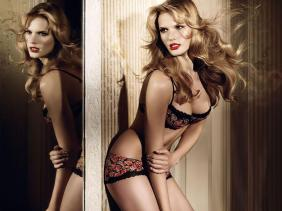 Beautiful blond model lingerie style